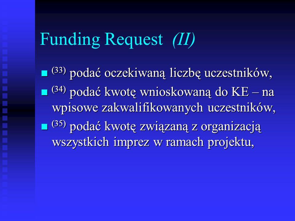 Funding Request (II) (33) podać oczekiwaną liczbę uczestników, (33) podać oczekiwaną liczbę uczestników, (34) podać kwotę wnioskowaną do KE – na wpiso