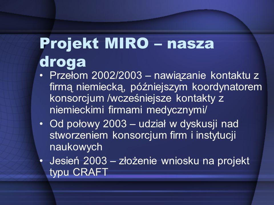 Projekt MIRO – nasza droga Przełom 2002/2003 – nawiązanie kontaktu z firmą niemiecką, późniejszym koordynatorem konsorcjum /wcześniejsze kontakty z ni