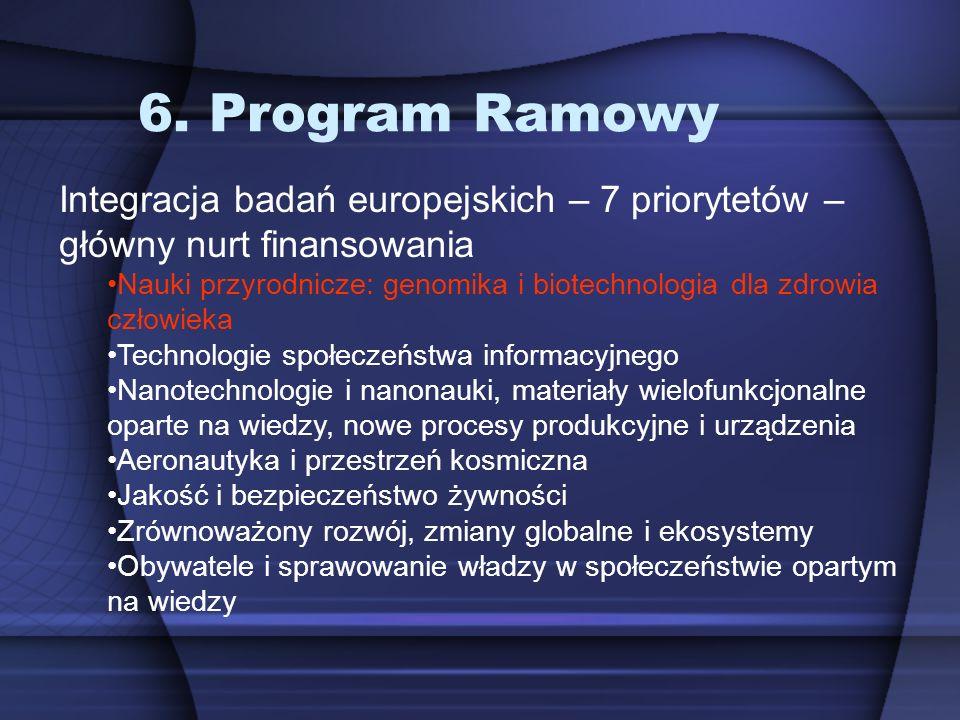 6. Program Ramowy Integracja badań europejskich – 7 priorytetów – główny nurt finansowania Nauki przyrodnicze: genomika i biotechnologia dla zdrowia c