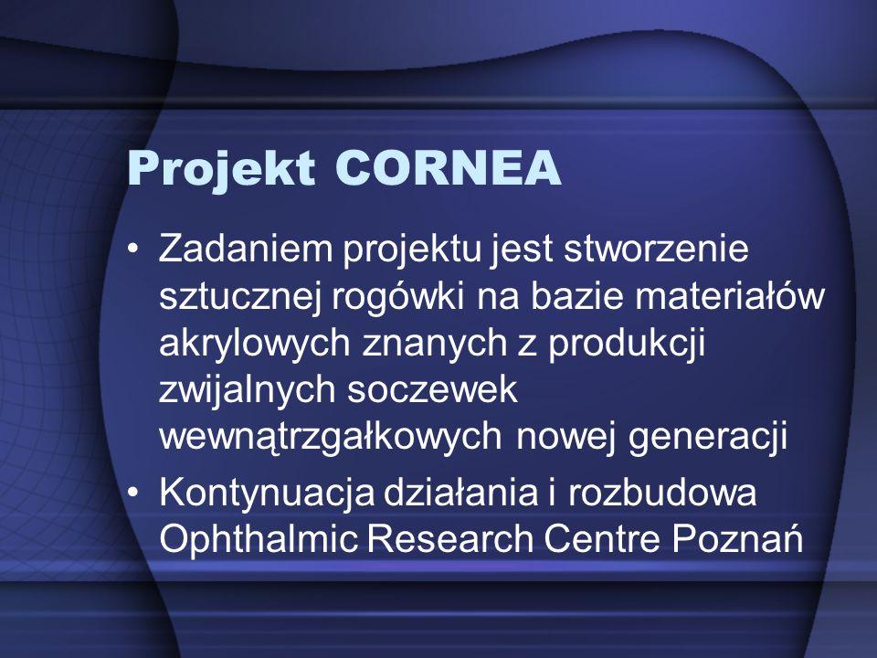 Projekt CORNEA Zadaniem projektu jest stworzenie sztucznej rogówki na bazie materiałów akrylowych znanych z produkcji zwijalnych soczewek wewnątrzgałk