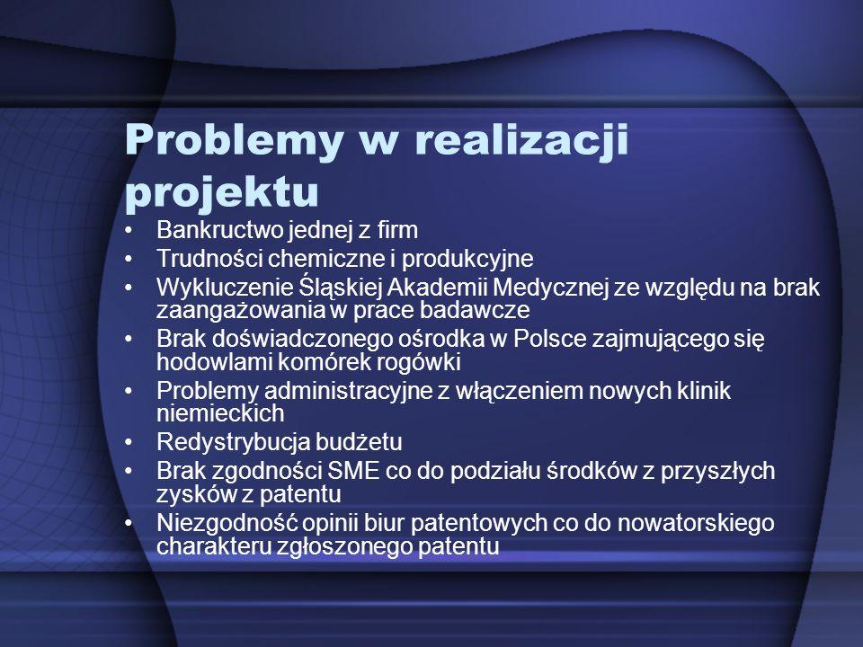 Problemy w realizacji projektu Bankructwo jednej z firm Trudności chemiczne i produkcyjne Wykluczenie Śląskiej Akademii Medycznej ze względu na brak z