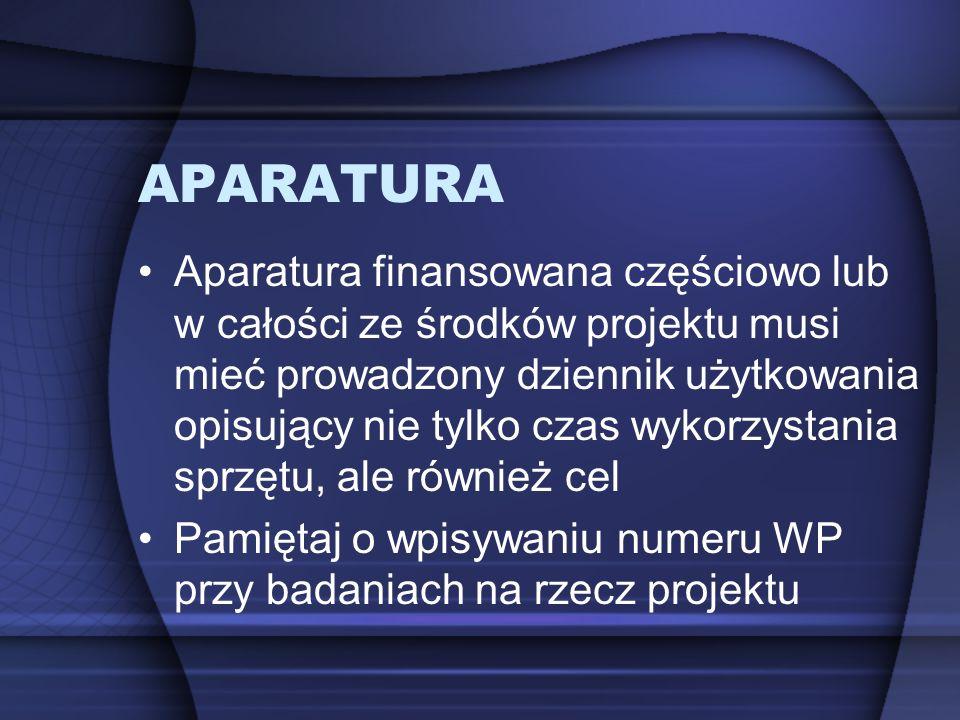APARATURA Aparatura finansowana częściowo lub w całości ze środków projektu musi mieć prowadzony dziennik użytkowania opisujący nie tylko czas wykorzy