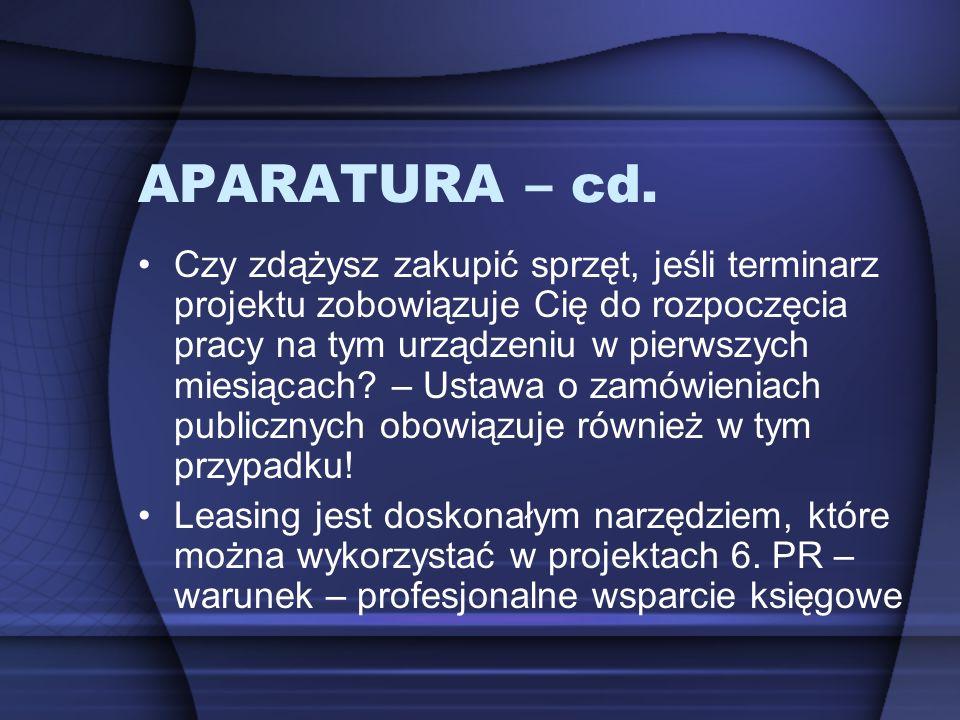 APARATURA – cd. Czy zdążysz zakupić sprzęt, jeśli terminarz projektu zobowiązuje Cię do rozpoczęcia pracy na tym urządzeniu w pierwszych miesiącach? –