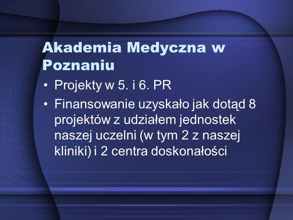 Akademia Medyczna w Poznaniu Projekty w 5. i 6. PR Finansowanie uzyskało jak dotąd 8 projektów z udziałem jednostek naszej uczelni (w tym 2 z naszej k