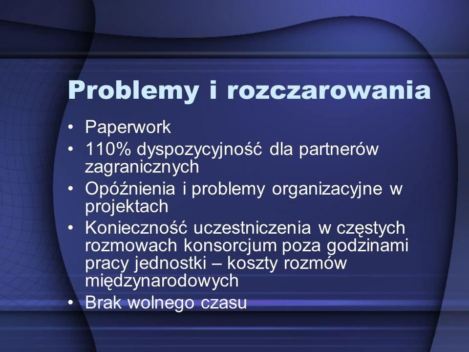 Problemy i rozczarowania Paperwork 110% dyspozycyjność dla partnerów zagranicznych Opóźnienia i problemy organizacyjne w projektach Konieczność uczest
