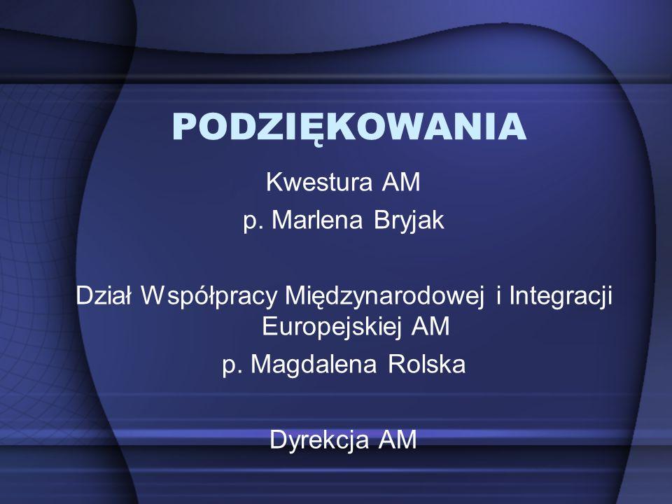 PODZIĘKOWANIA Kwestura AM p. Marlena Bryjak Dział Współpracy Międzynarodowej i Integracji Europejskiej AM p. Magdalena Rolska Dyrekcja AM