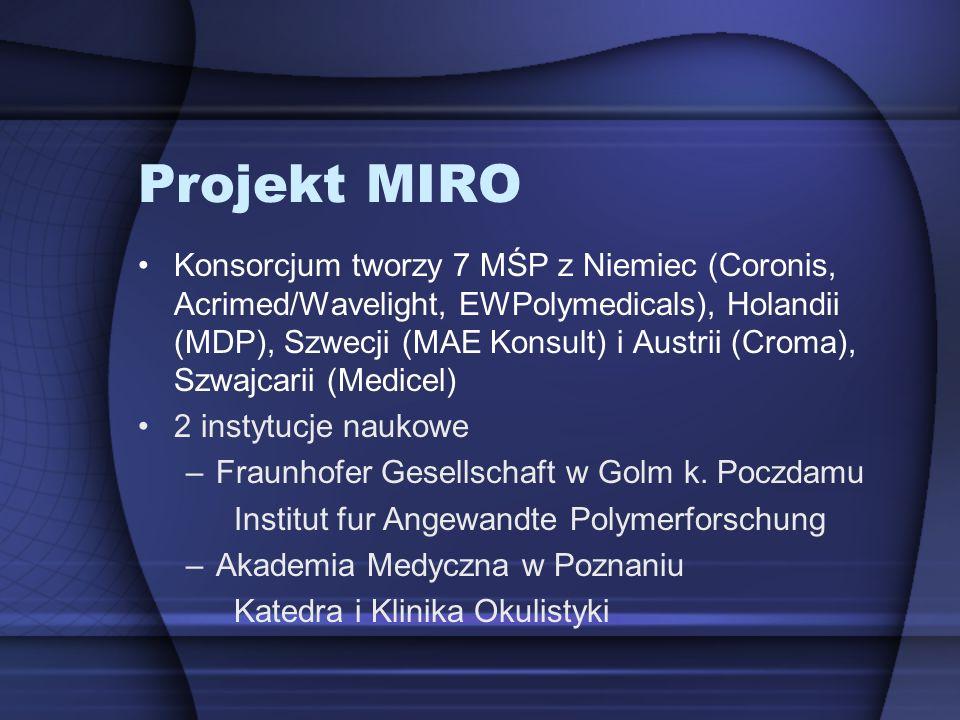 Projekt MIRO Konsorcjum tworzy 7 MŚP z Niemiec (Coronis, Acrimed/Wavelight, EWPolymedicals), Holandii (MDP), Szwecji (MAE Konsult) i Austrii (Croma),