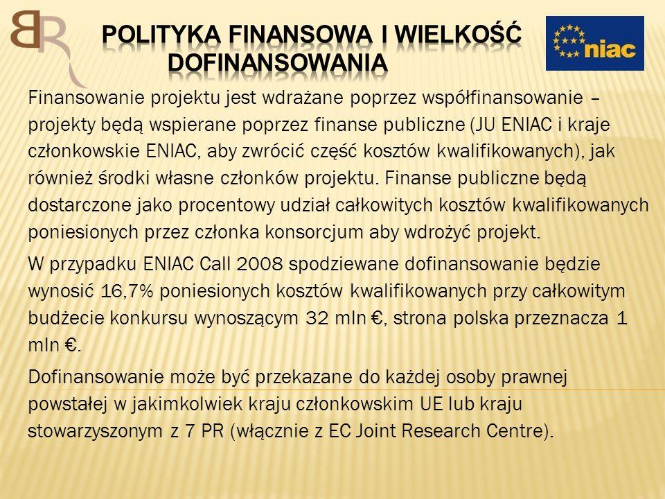 Finansowanie projektu jest wdrażane poprzez współfinansowanie – projekty będą wspierane poprzez finanse publiczne (JU ENIAC i kraje członkowskie ENIAC