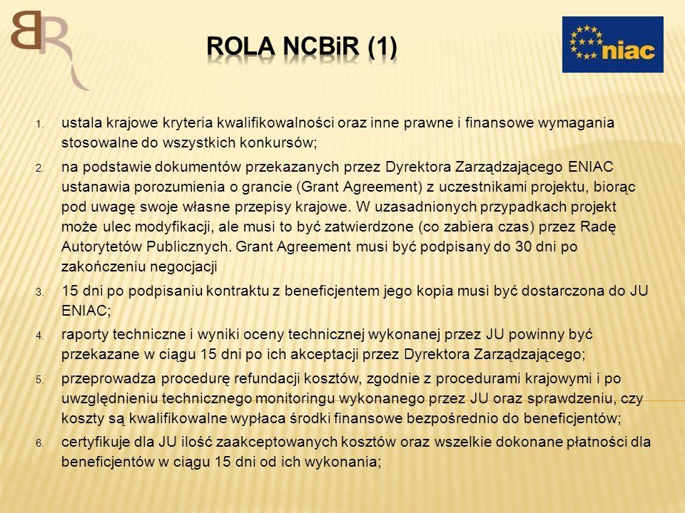1. ustala krajowe kryteria kwalifikowalności oraz inne prawne i finansowe wymagania stosowalne do wszystkich konkursów; 2. na podstawie dokumentów prz