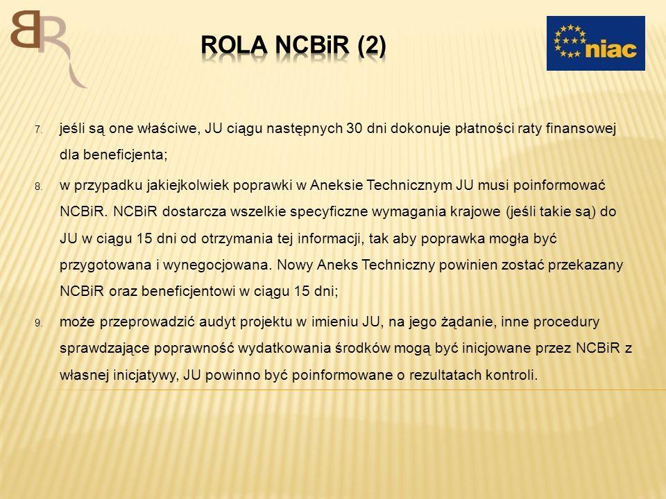 7. jeśli są one właściwe, JU ciągu następnych 30 dni dokonuje płatności raty finansowej dla beneficjenta; 8. w przypadku jakiejkolwiek poprawki w Anek