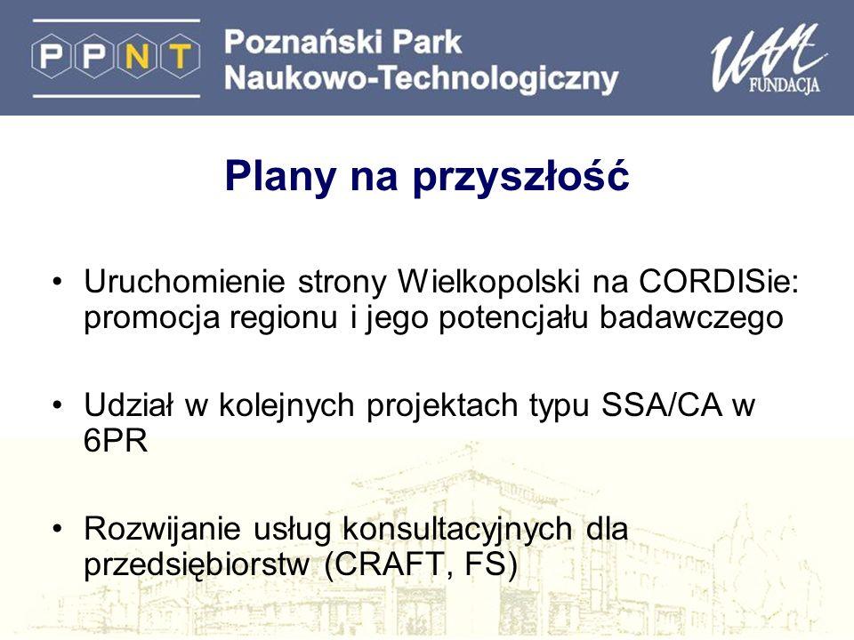 Plany na przyszłość Uruchomienie strony Wielkopolski na CORDISie: promocja regionu i jego potencjału badawczego Udział w kolejnych projektach typu SSA