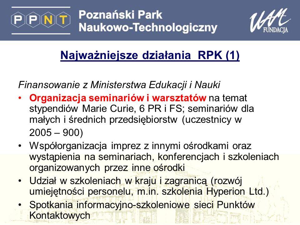 Najważniejsze działania RPK (1) Finansowanie z Ministerstwa Edukacji i Nauki Organizacja seminariów i warsztatów na temat stypendiów Marie Curie, 6 PR