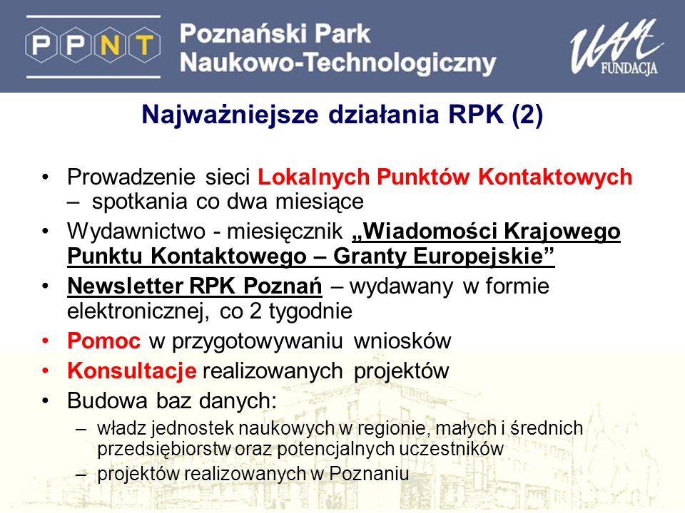 Najważniejsze działania RPK (2) Prowadzenie sieci Lokalnych Punktów Kontaktowych – spotkania co dwa miesiące Wydawnictwo - miesięcznik Wiadomości Kraj