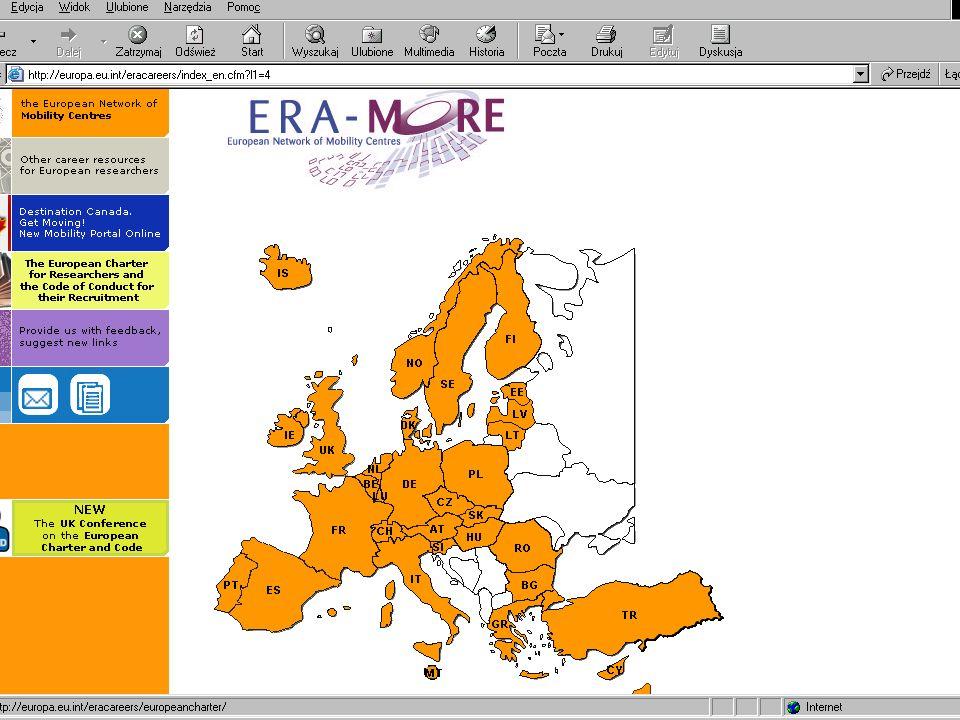 Państwa w sieci ERA-MORE: Należące do Unii Europejskiej – 25 Należące do Unii Europejskiej – 25 Inne państwa europejskie: Inne państwa europejskie: Islandia Lichtenstein Norwegia Szwajcaria Negocjujące wstąpienie do UE Negocjujące wstąpienie do UE Rumunia Bułgaria Turcja Izrael Izrael (Kanada) (Kanada)