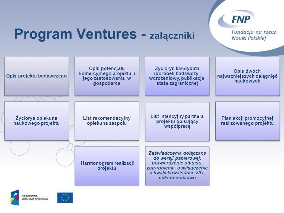Program Ventures - załączniki 15 Opis projektu badawczego Opis potencjału komercyjnego projektu i jego zastosowania w gospodarce Życiorys kandydata (d