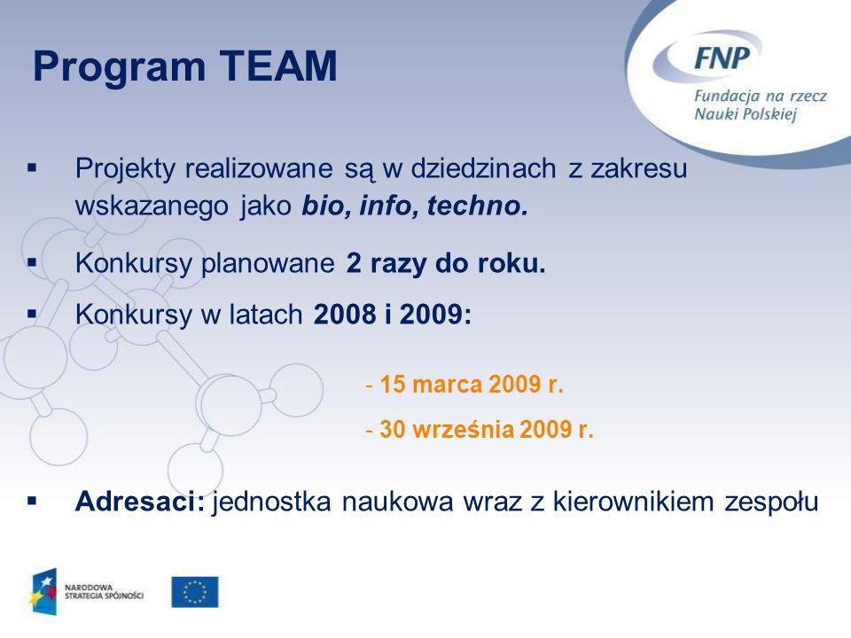 Projekty realizowane są w dziedzinach z zakresu wskazanego jako bio, info, techno. Konkursy planowane 2 razy do roku. Konkursy w latach 2008 i 2009: -