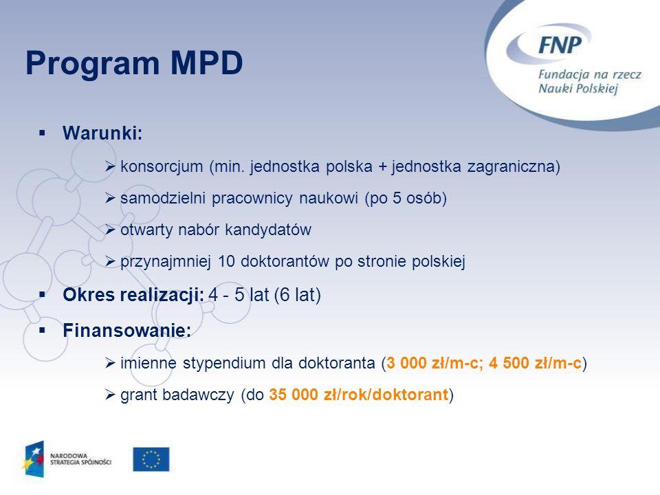 23 Warunki: konsorcjum (min. jednostka polska + jednostka zagraniczna) samodzielni pracownicy naukowi (po 5 osób) otwarty nabór kandydatów przynajmnie