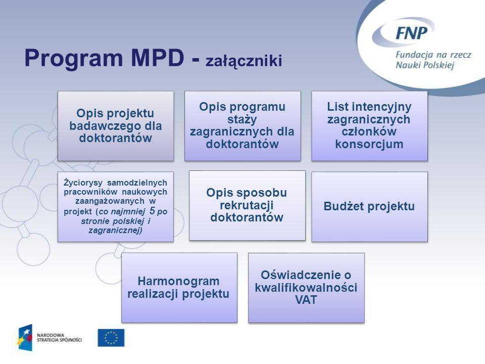 Program MPD - załączniki 24 Opis projektu badawczego dla doktorantów Opis programu staży zagranicznych dla doktorantów List intencyjny zagranicznych c