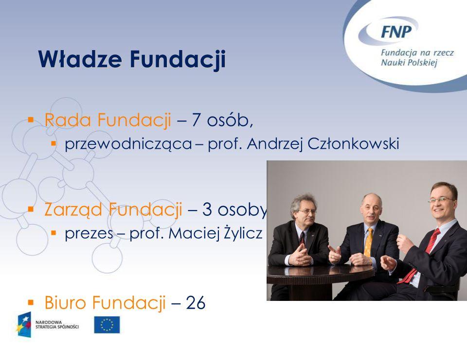 Władze Fundacji Rada Fundacji – 7 osób, przewodnicząca – prof. Andrzej Członkowski Zarząd Fundacji – 3 osoby, prezes – prof. Maciej Żylicz Biuro Funda
