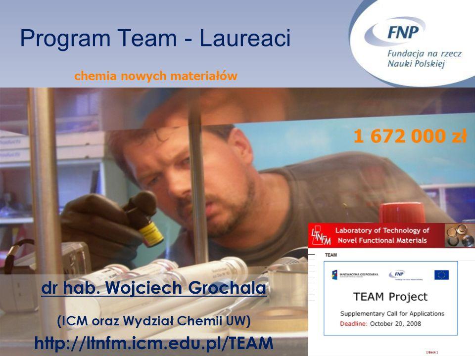 Program Team - Laureaci dr hab. Wojciech Grochala (ICM oraz Wydział Chemii UW) http://ltnfm.icm.edu.pl/TEAM chemia nowych materiałów 1 672 000 zł