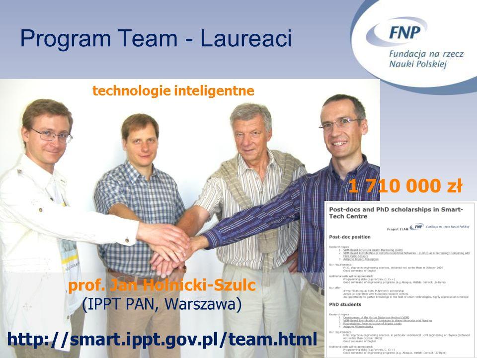 Program Team - Laureaci prof. Jan Holnicki-Szulc (IPPT PAN, Warszawa) http://smart.ippt.gov.pl/team.html technologie inteligentne 1 710 000 zł