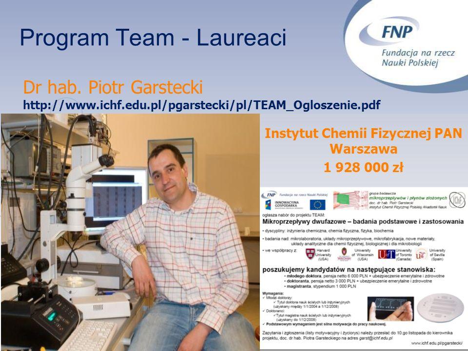 Program Team - Laureaci Instytut Chemii Fizycznej PAN Warszawa 1 928 000 zł Dr hab. Piotr Garstecki http://www.ichf.edu.pl/pgarstecki/pl/TEAM_Ogloszen