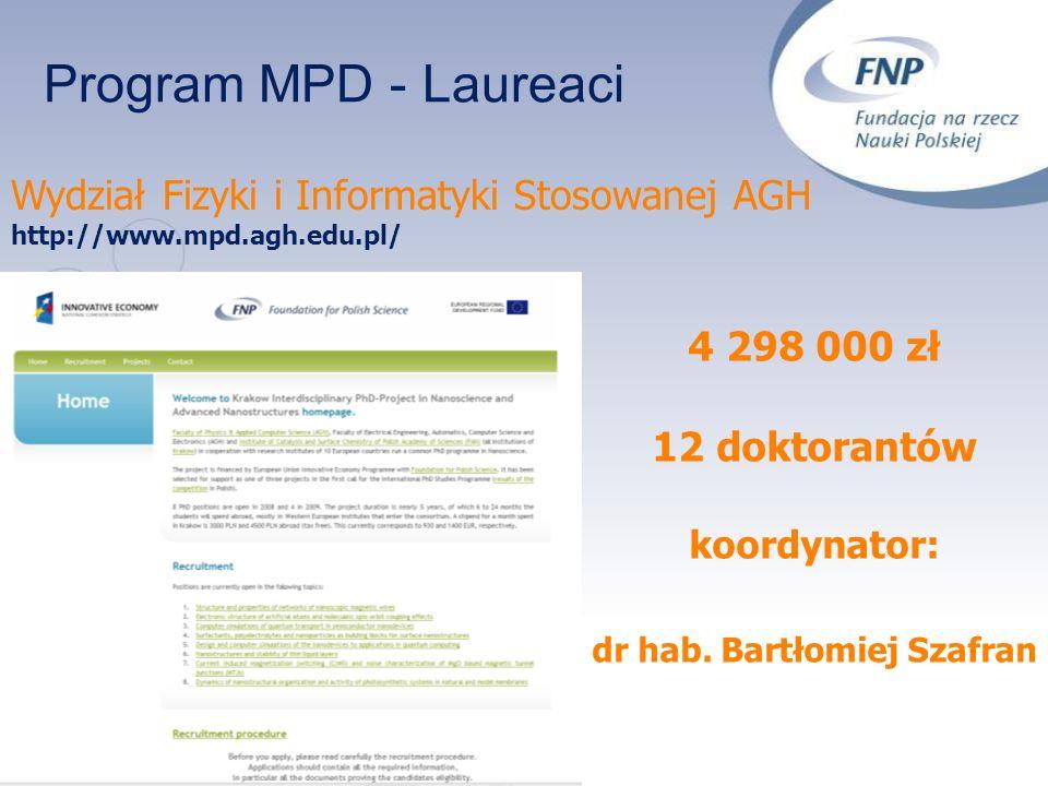 Program MPD - Laureaci Wydział Fizyki i Informatyki Stosowanej AGH http://www.mpd.agh.edu.pl/ 4 298 000 zł 12 doktorantów koordynator: dr hab. Bartłom