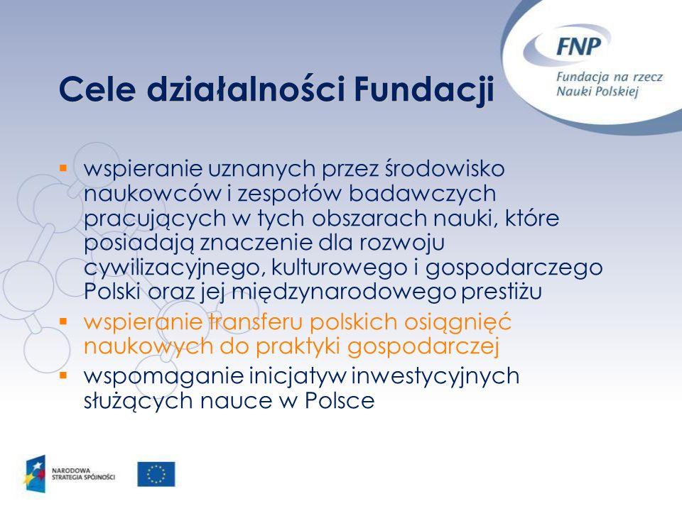 Cele działalności Fundacji wspieranie uznanych przez środowisko naukowców i zespołów badawczych pracujących w tych obszarach nauki, które posiadają zn
