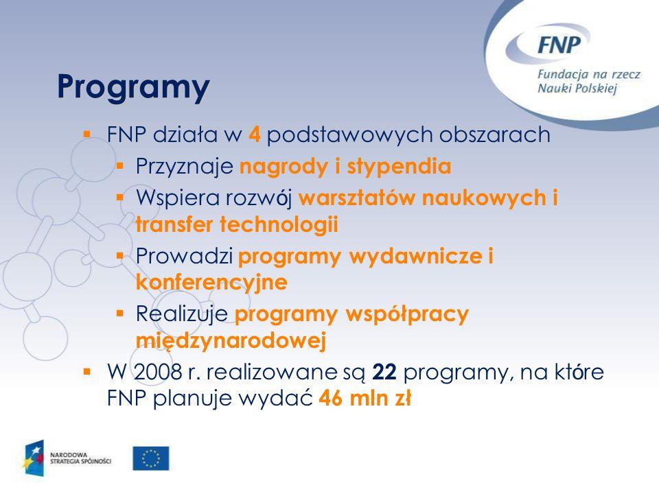 Programy FNP działa w 4 podstawowych obszarach Przyznaje nagrody i stypendia Wspiera rozw ó j warsztat ó w naukowych i transfer technologii Prowadzi p