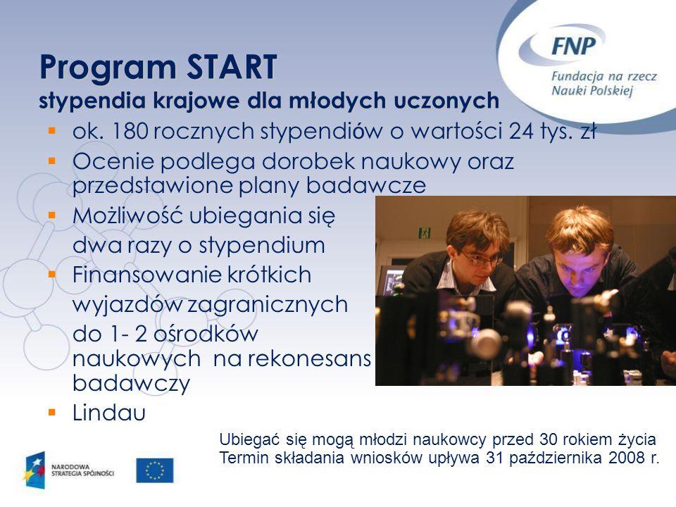 Program START stypendia krajowe dla młodych uczonych ok. 180 rocznych stypendi ó w o wartości 24 tys. zł Ocenie podlega dorobek naukowy oraz przedstaw
