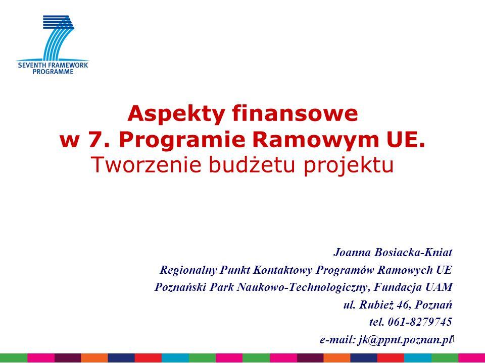 1 Aspekty finansowe w 7. Programie Ramowym UE.