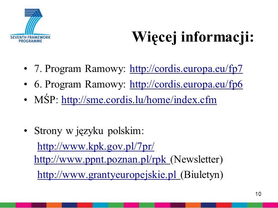 10 Więcej informacji: 7. Program Ramowy: http://cordis.europa.eu/fp7 6.