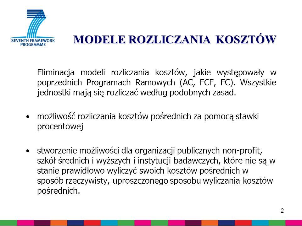 2 MODELE ROZLICZANIA KOSZTÓW Eliminacja modeli rozliczania kosztów, jakie występowały w poprzednich Programach Ramowych (AC, FCF, FC).
