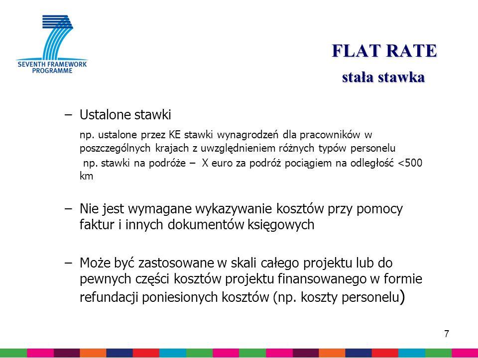 7 FLAT RATE stała stawka –Ustalone stawki np.