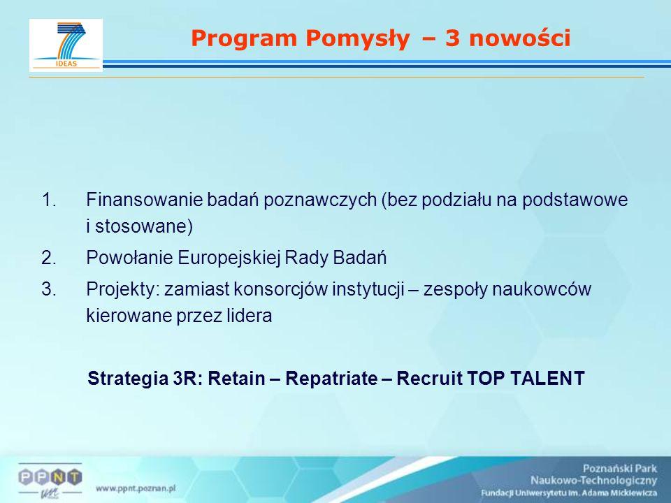 Program Pomysły – 3 nowości 1.Finansowanie badań poznawczych (bez podziału na podstawowe i stosowane) 2.Powołanie Europejskiej Rady Badań 3.Projekty: zamiast konsorcjów instytucji – zespoły naukowców kierowane przez lidera Strategia 3R: Retain – Repatriate – Recruit TOP TALENT