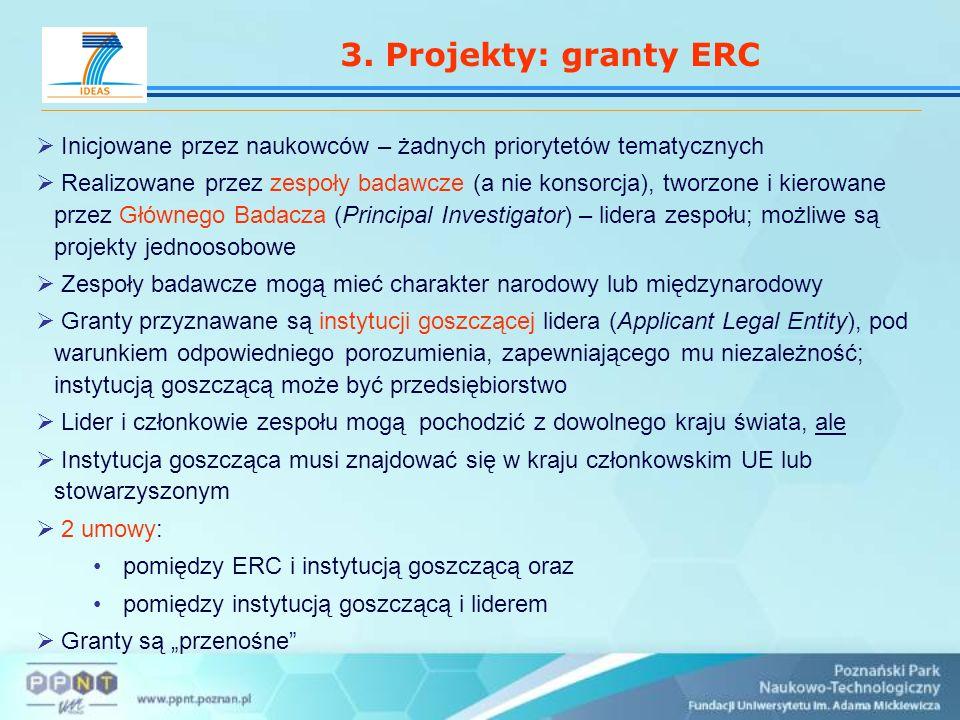 3. Projekty: granty ERC Inicjowane przez naukowców – żadnych priorytetów tematycznych Realizowane przez zespoły badawcze (a nie konsorcja), tworzone i
