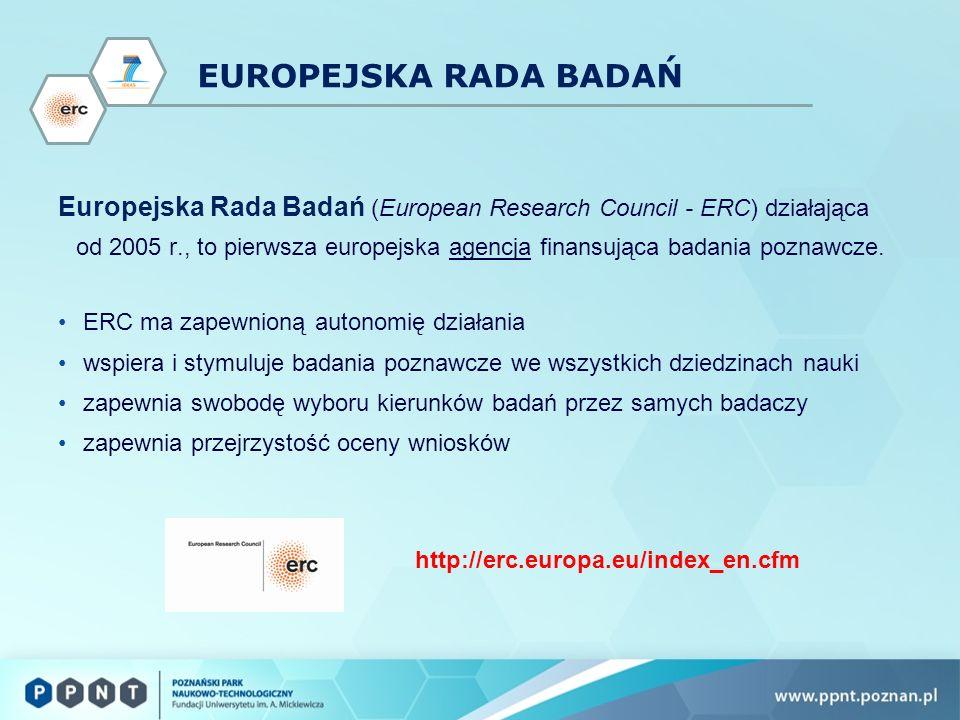 EUROPEJSKA RADA BADAŃ Europejska Rada Badań (European Research Council - ERC) działająca od 2005 r., to pierwsza europejska agencja finansująca badania poznawcze.