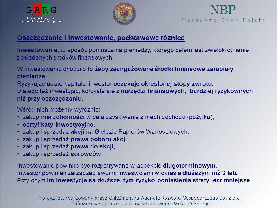 Projekt jest realizowany przez Gnieźnieńską Agencję Rozwoju Gospodarczego Sp. z o.o. z dofinansowaniem ze środków Narodowego Banku Polskiego. Oszczędz