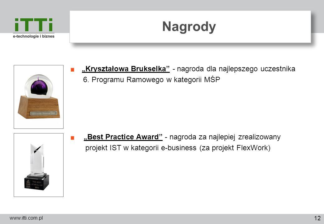 12 Nagrody www.itti.com.pl Kryształowa Brukselka - nagroda dla najlepszego uczestnika 6. Programu Ramowego w kategorii MŚP Best Practice Award - nagro