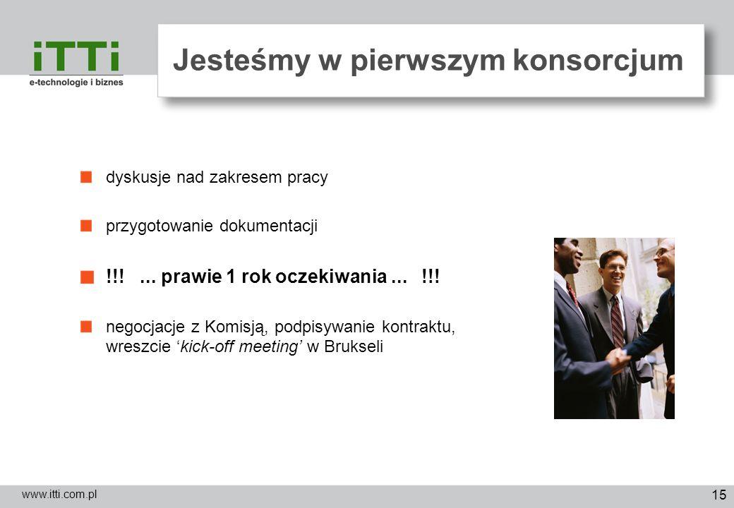 15 Jesteśmy w pierwszym konsorcjum www.itti.com.pl dyskusje nad zakresem pracy przygotowanie dokumentacji !!!... prawie 1 rok oczekiwania... !!! negoc