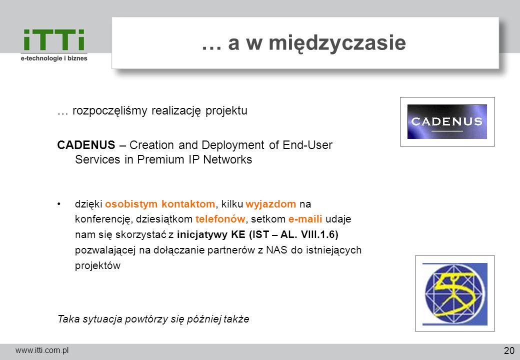 20 … a w międzyczasie www.itti.com.pl … rozpoczęliśmy realizację projektu CADENUS – Creation and Deployment of End-User Services in Premium IP Network