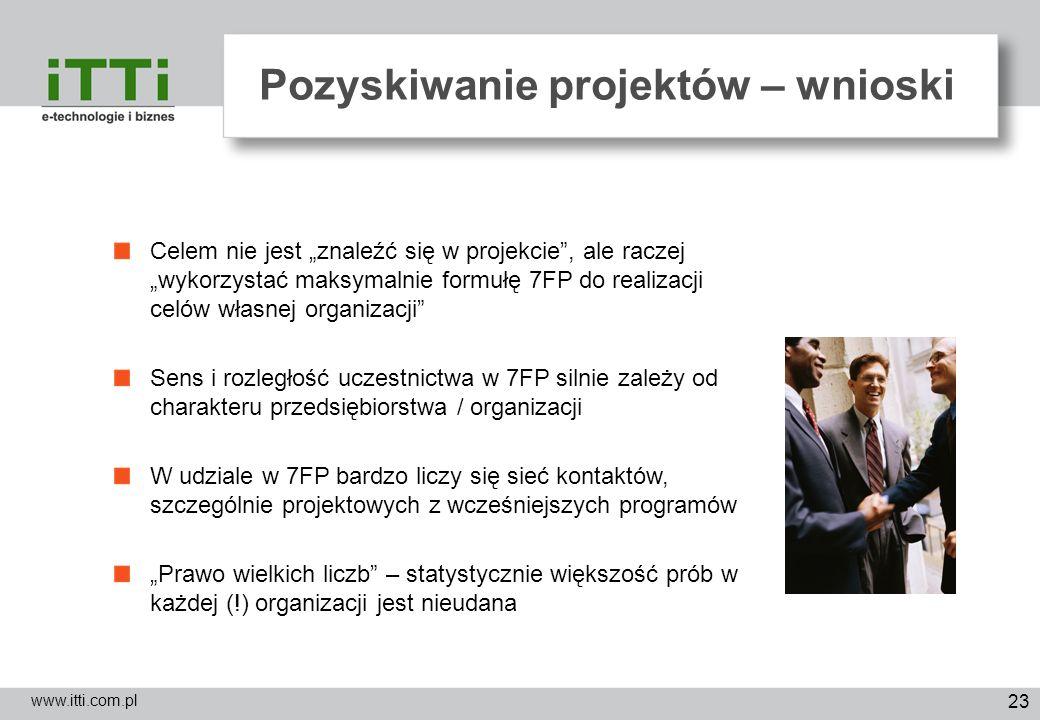 23 Pozyskiwanie projektów – wnioski www.itti.com.pl Celem nie jest znaleźć się w projekcie, ale raczej wykorzystać maksymalnie formułę 7FP do realizac