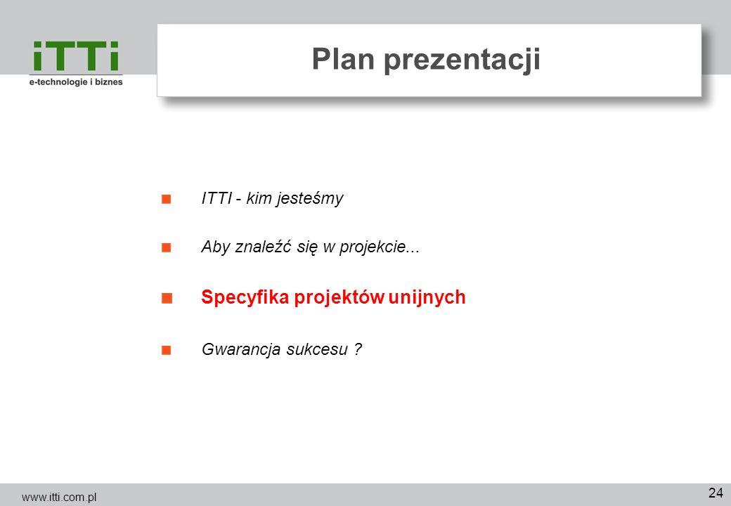 24 Plan prezentacji ITTI - kim jesteśmy Aby znaleźć się w projekcie... Specyfika projektów unijnych Gwarancja sukcesu ? www.itti.com.pl