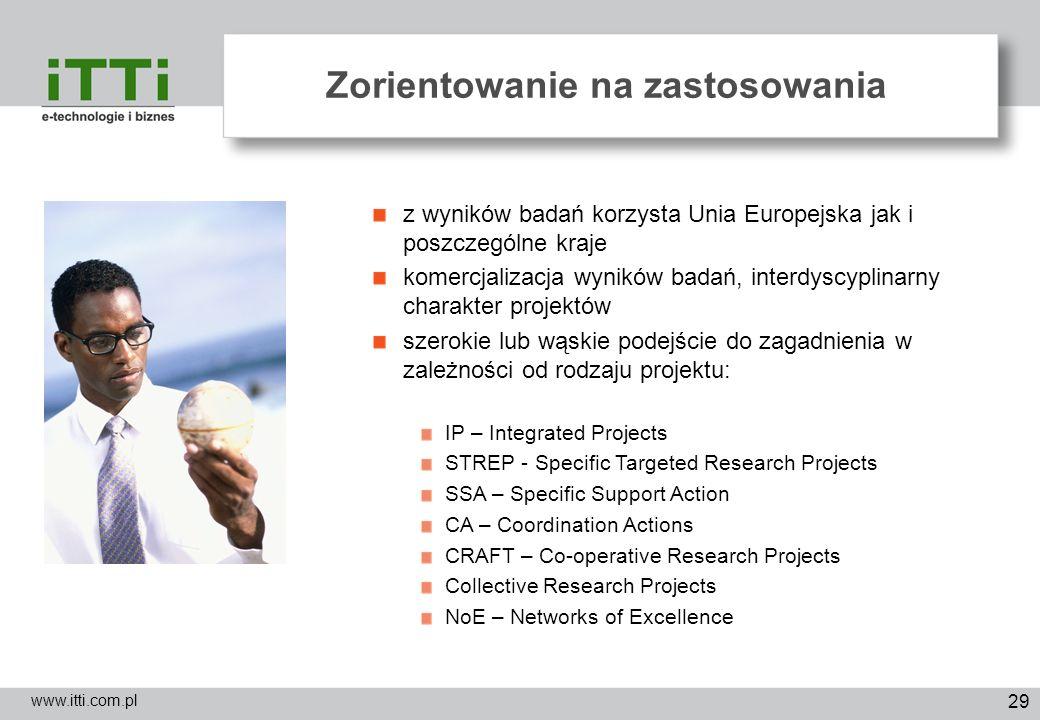 29 Zorientowanie na zastosowania www.itti.com.pl z wyników badań korzysta Unia Europejska jak i poszczególne kraje komercjalizacja wyników badań, inte