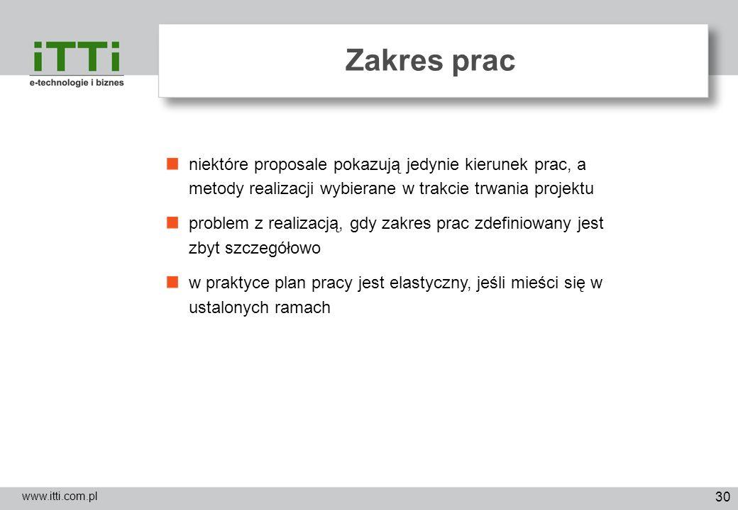 30 Zakres prac www.itti.com.pl niektóre proposale pokazują jedynie kierunek prac, a metody realizacji wybierane w trakcie trwania projektu problem z r