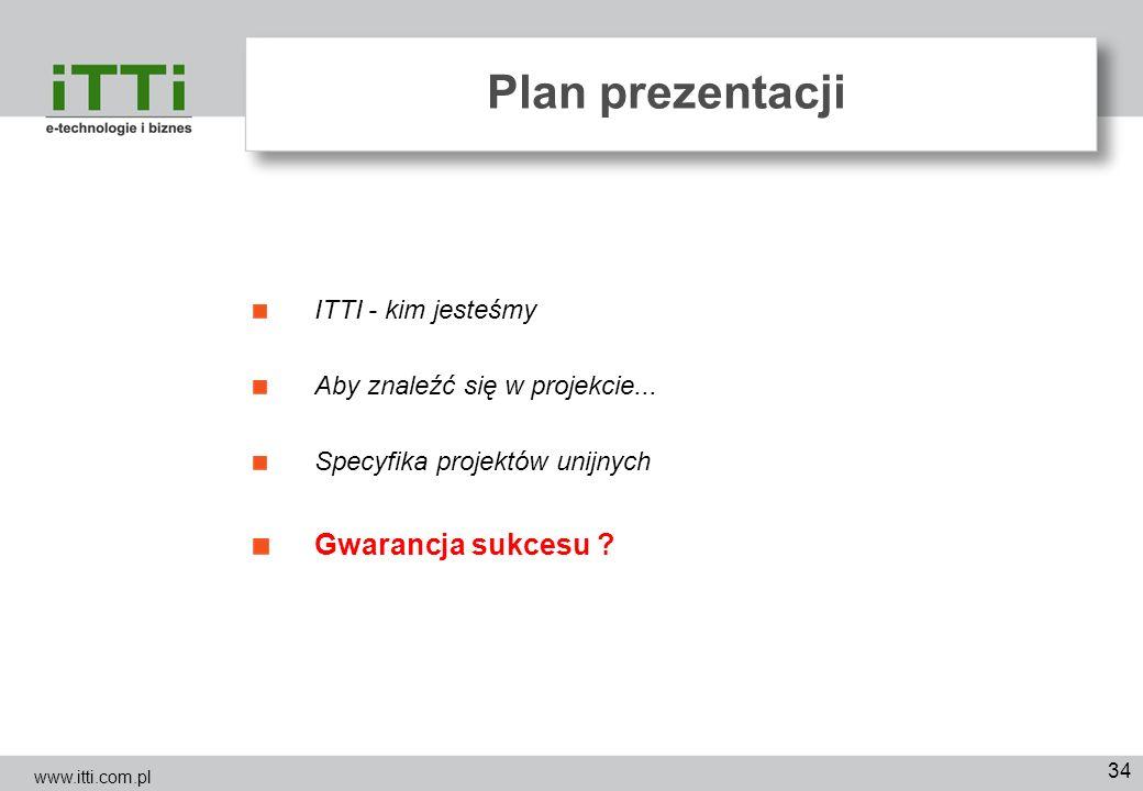 34 Plan prezentacji ITTI - kim jesteśmy Aby znaleźć się w projekcie... Specyfika projektów unijnych Gwarancja sukcesu ? www.itti.com.pl