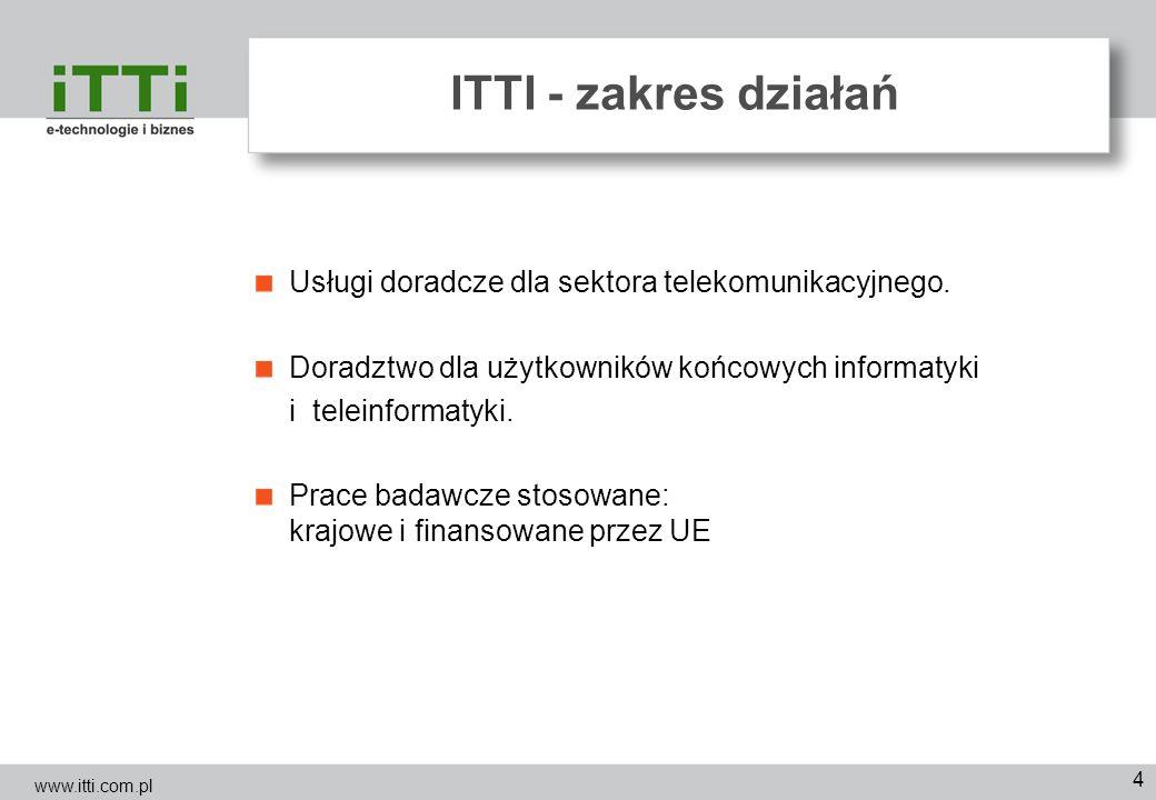 4 ITTI - zakres działań Usługi doradcze dla sektora telekomunikacyjnego. Doradztwo dla użytkowników końcowych informatyki i teleinformatyki. Prace bad