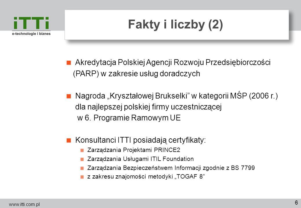 6 Fakty i liczby (2) Akredytacja Polskiej Agencji Rozwoju Przedsiębiorczości (PARP) w zakresie usług doradczych Nagroda Kryształowej Brukselki w kateg