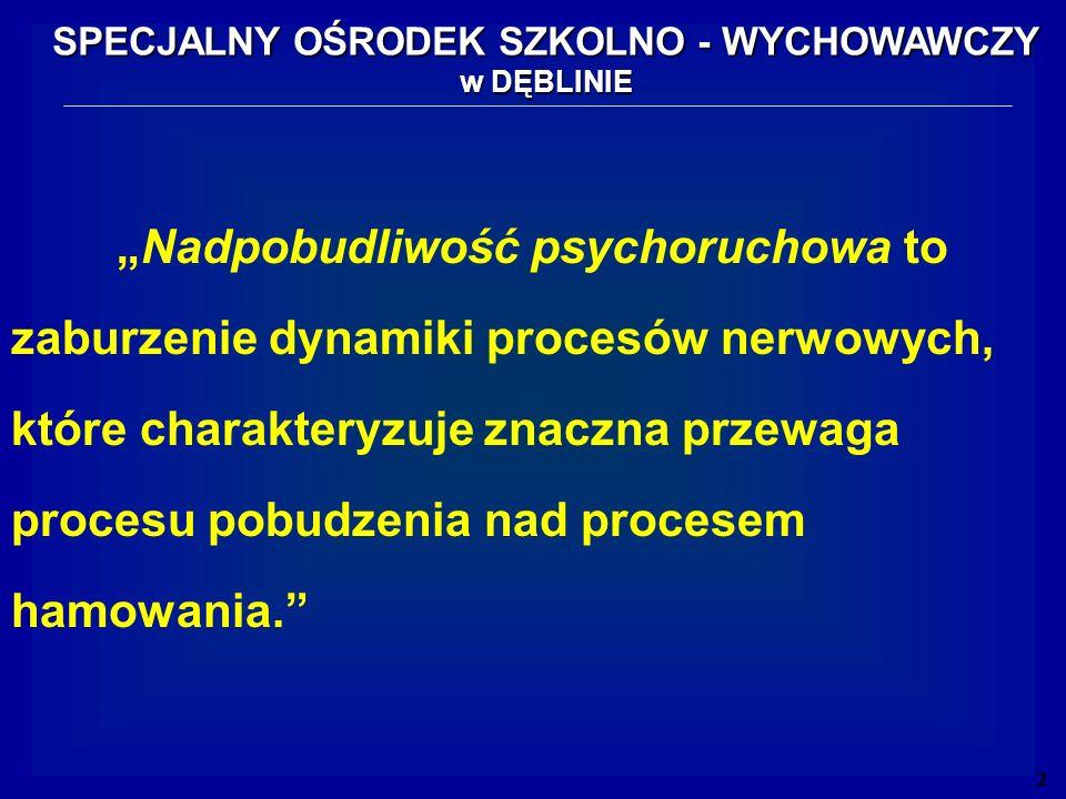 Nadpobudliwość psychoruchowa to zaburzenie dynamiki procesów nerwowych, które charakteryzuje znaczna przewaga procesu pobudzenia nad procesem hamowani