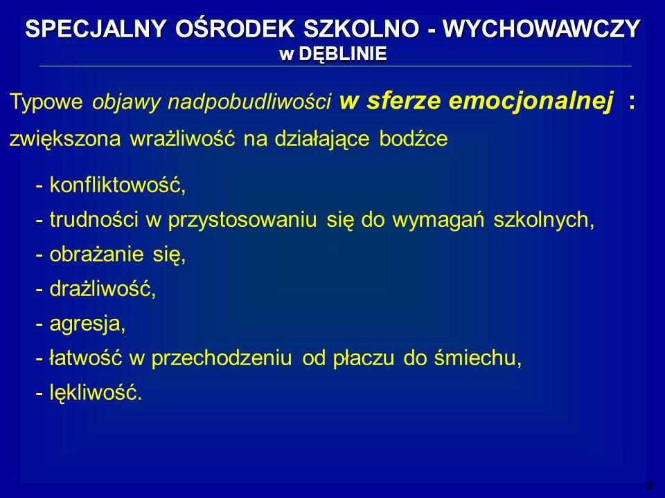 Typowe objawy nadpobudliwości w sferze emocjonalnej : - konfliktowość, - trudności w przystosowaniu się do wymagań szkolnych, - obrażanie się, - drażl